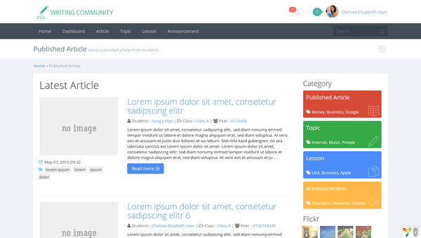 English Writing Community Web Preview