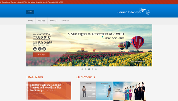 Sales Portal Garuda Indonesia Web Preview